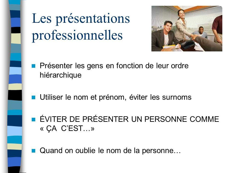 Les présentations professionnelles