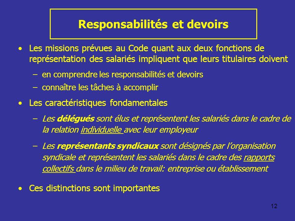 Responsabilités et devoirs