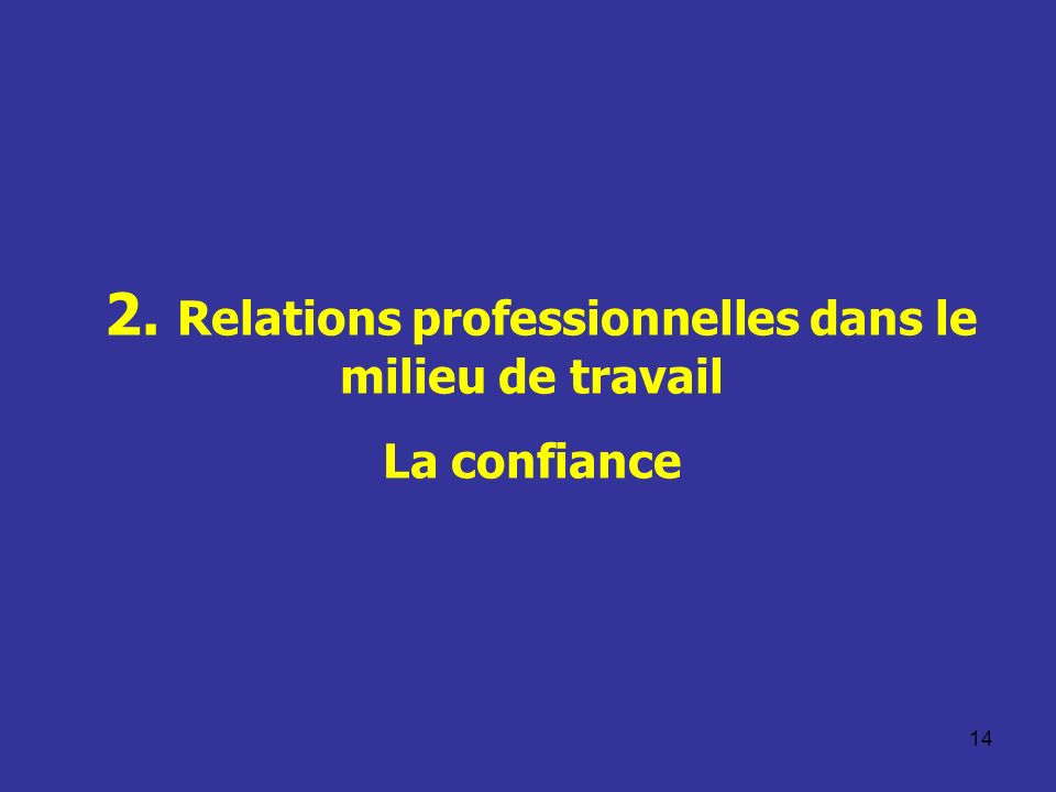 2. Relations professionnelles dans le milieu de travail