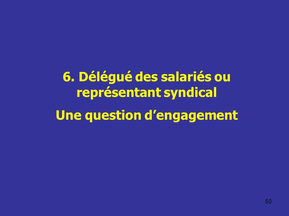 6. Délégué des salariés ou représentant syndical