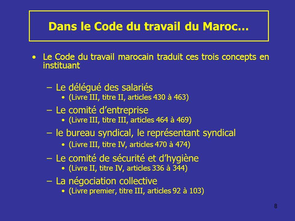Dans le Code du travail du Maroc…