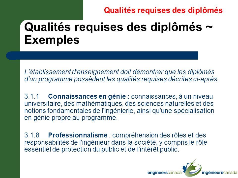 Qualités requises des diplômés ~ Exemples