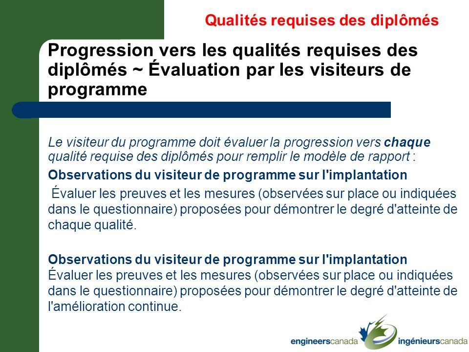 * 07/16/96. Qualités requises des diplômés. Progression vers les qualités requises des diplômés ~ Évaluation par les visiteurs de programme.