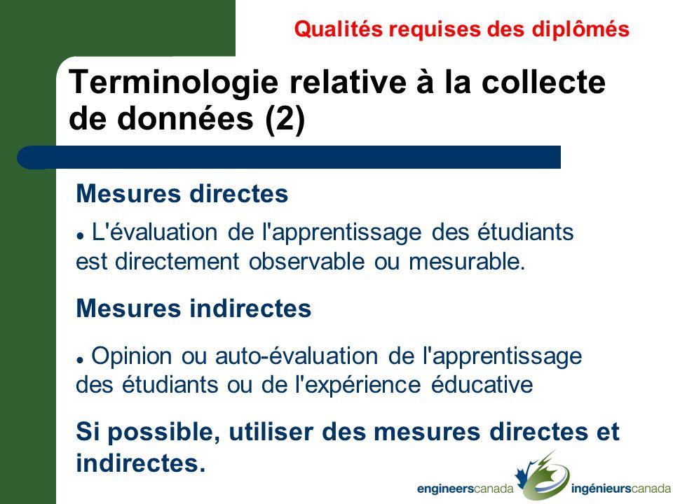 Terminologie relative à la collecte de données (2)