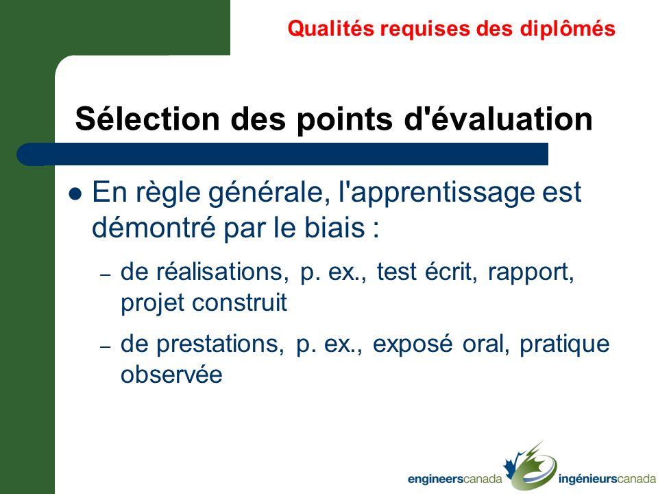 Sélection des points d évaluation
