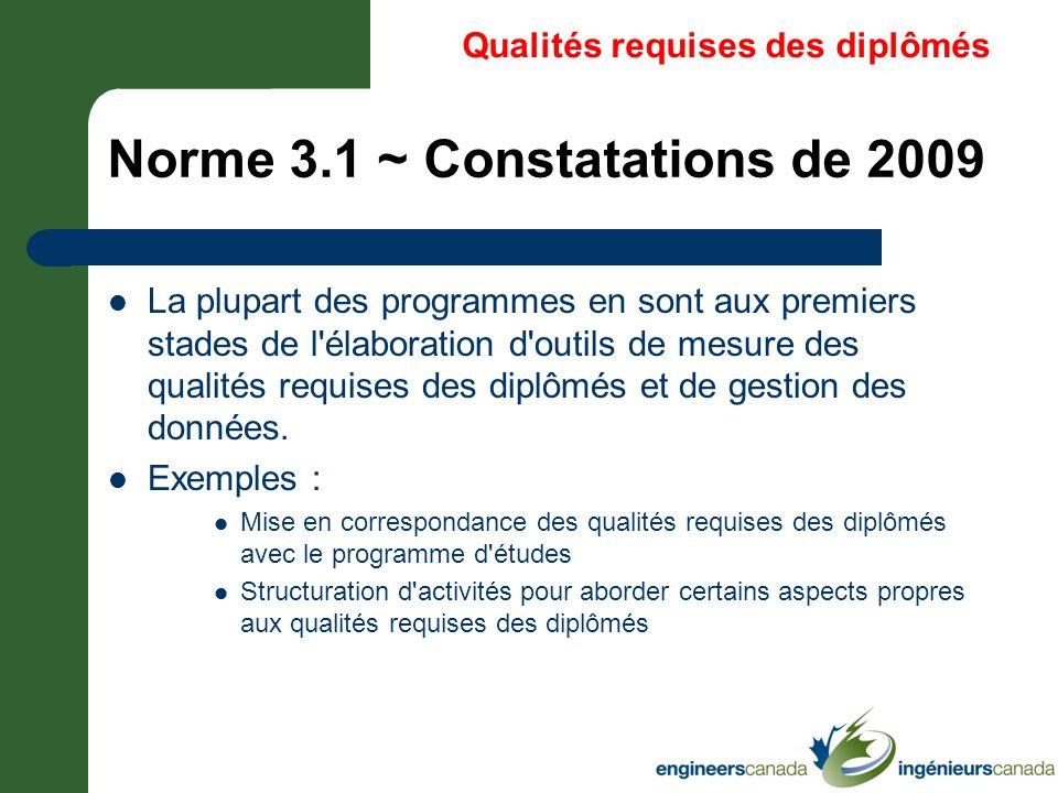 Norme 3.1 ~ Constatations de 2009