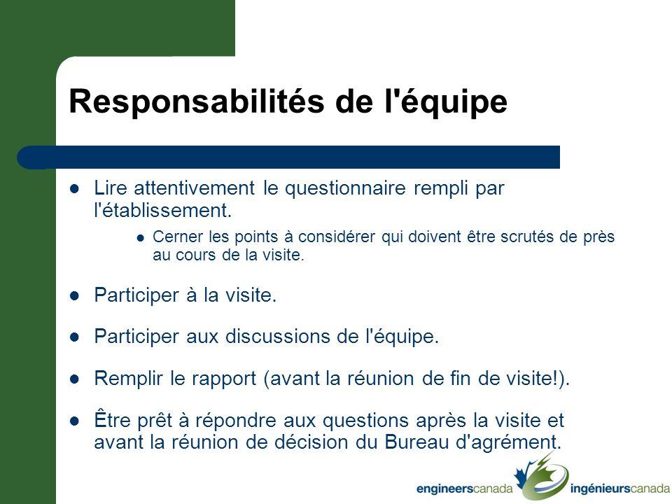 Responsabilités de l équipe