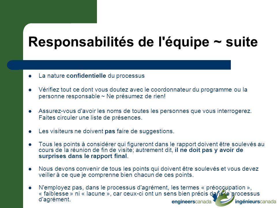 Responsabilités de l équipe ~ suite