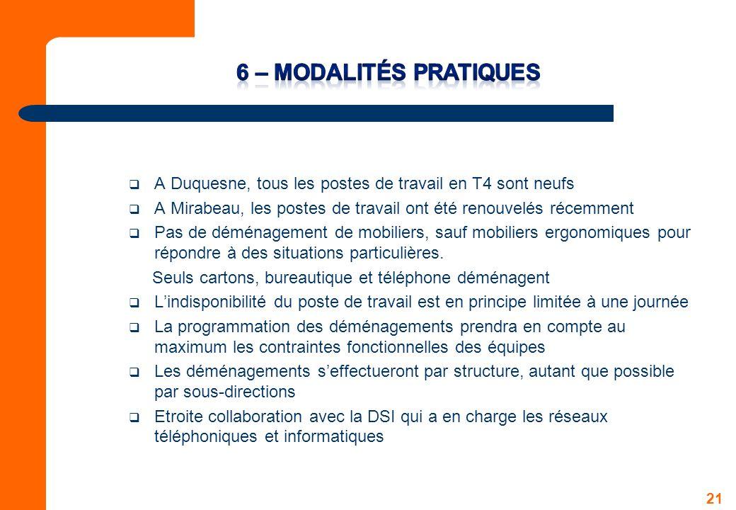6 – Modalités Pratiques A Duquesne, tous les postes de travail en T4 sont neufs. A Mirabeau, les postes de travail ont été renouvelés récemment.