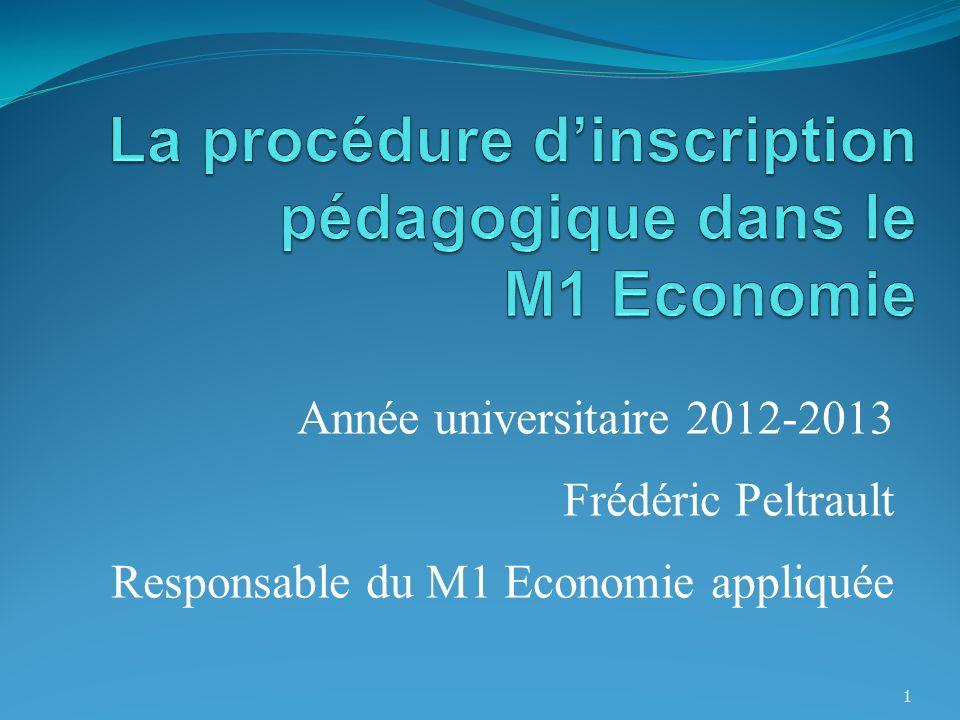 La procédure d'inscription pédagogique dans le M1 Economie