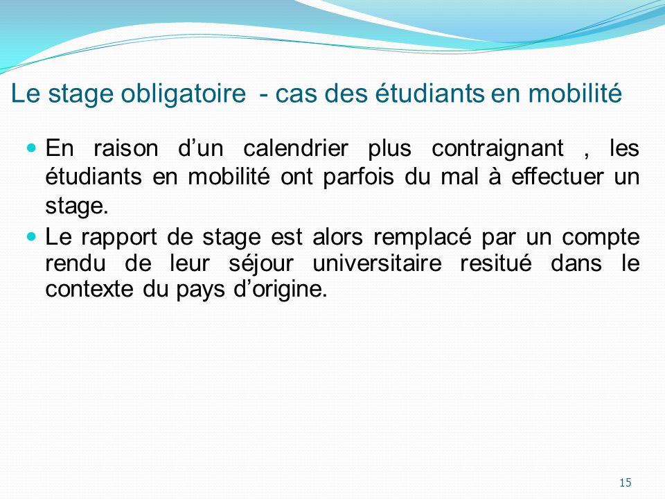 Le stage obligatoire - cas des étudiants en mobilité