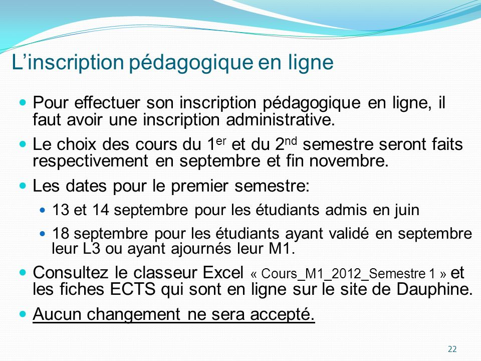 L'inscription pédagogique en ligne