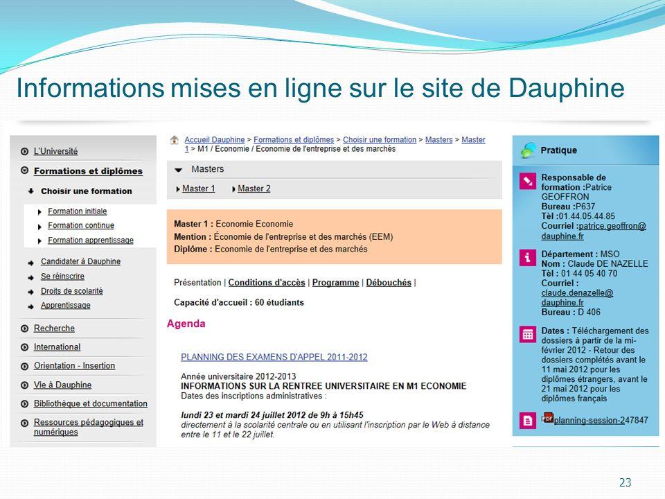 Informations mises en ligne sur le site de Dauphine