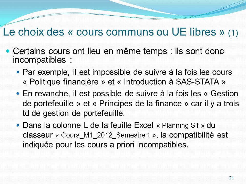 Le choix des « cours communs ou UE libres » (1)