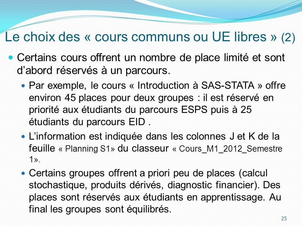 Le choix des « cours communs ou UE libres » (2)