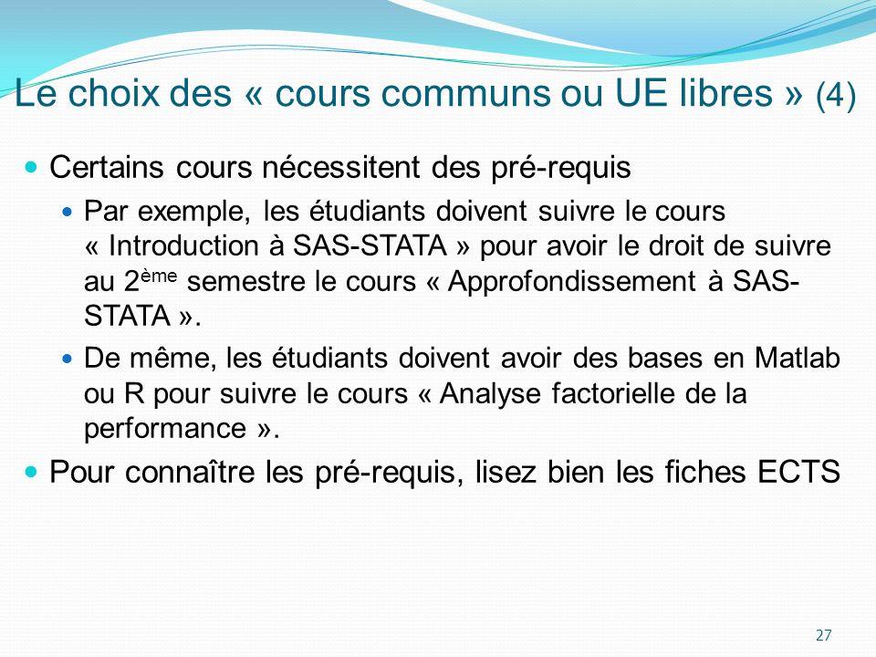 Le choix des « cours communs ou UE libres » (4)