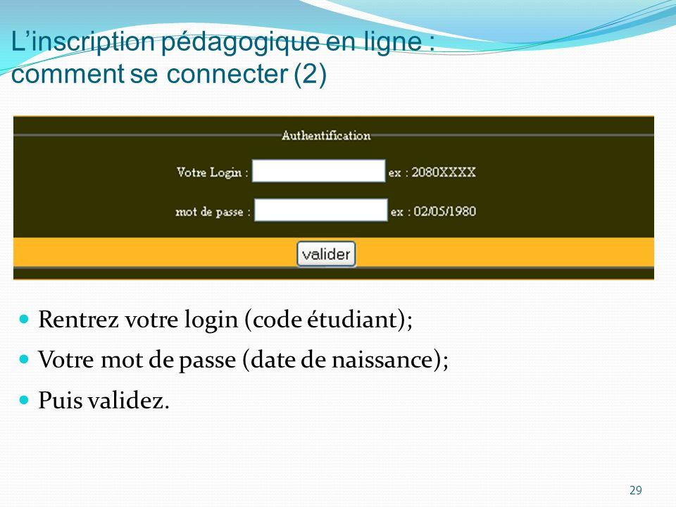 L'inscription pédagogique en ligne : comment se connecter (2)