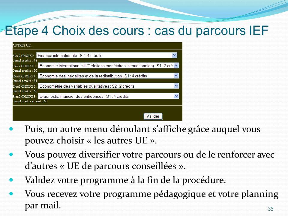 Etape 4 Choix des cours : cas du parcours IEF