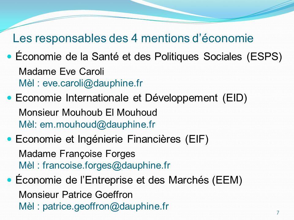 Les responsables des 4 mentions d'économie