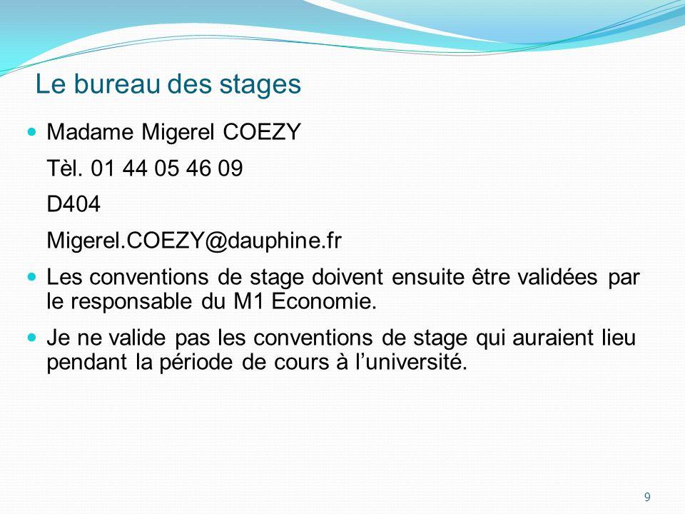 Le bureau des stages Madame Migerel COEZY Tèl. 01 44 05 46 09 D404