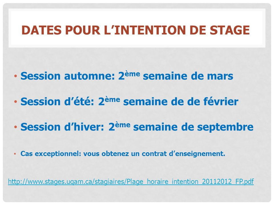 Dates pour l'intention de stage