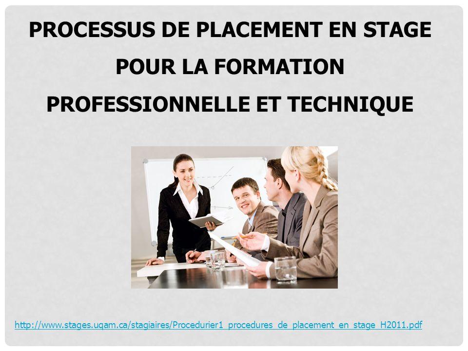 Processus de placement en stage pour la formation professionnelle et technique