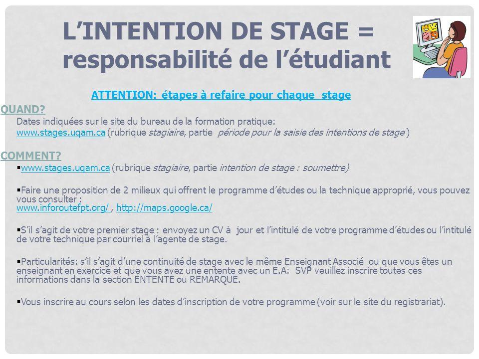 ATTENTION: étapes à refaire pour chaque stage