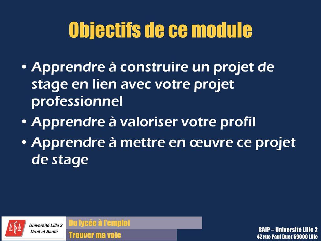 module pec 1  u2013 objectif stage