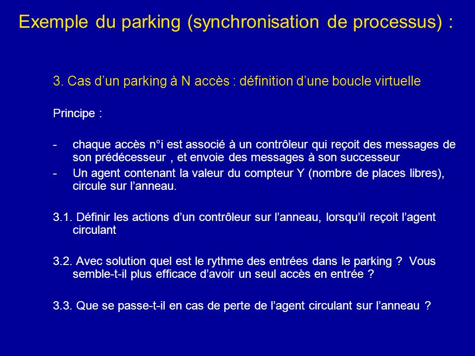 Exemple du parking (synchronisation de processus) :