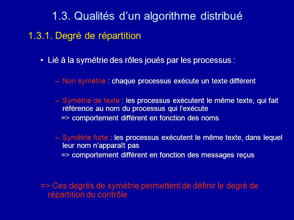 1.3. Qualités d'un algorithme distribué