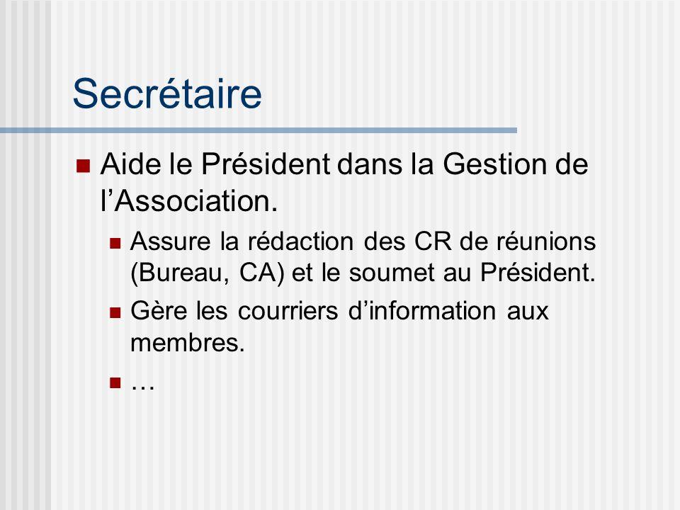 Secrétaire Aide le Président dans la Gestion de l'Association.