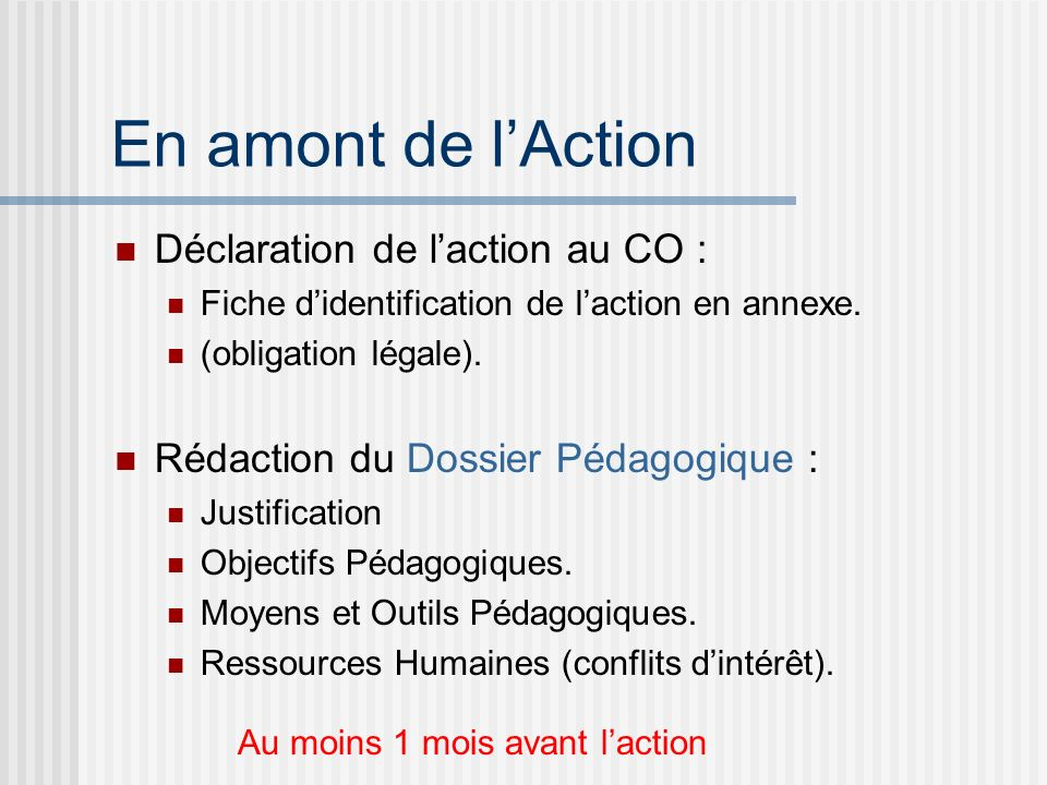 En amont de l'Action Déclaration de l'action au CO :