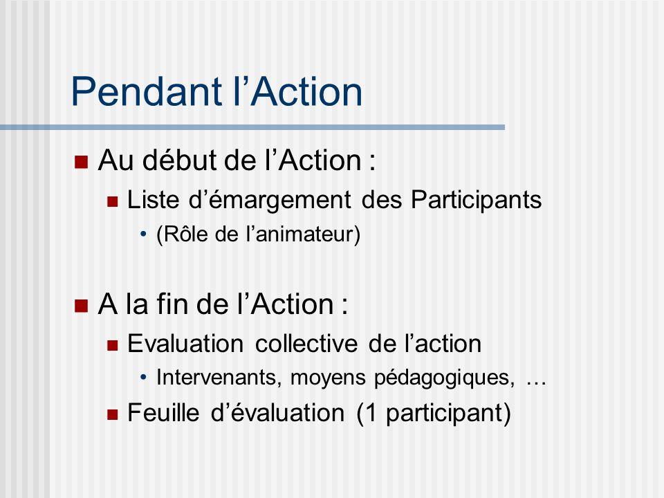 Pendant l'Action Au début de l'Action : A la fin de l'Action :