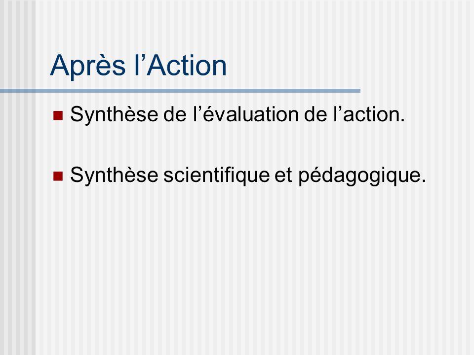 Après l'Action Synthèse de l'évaluation de l'action.
