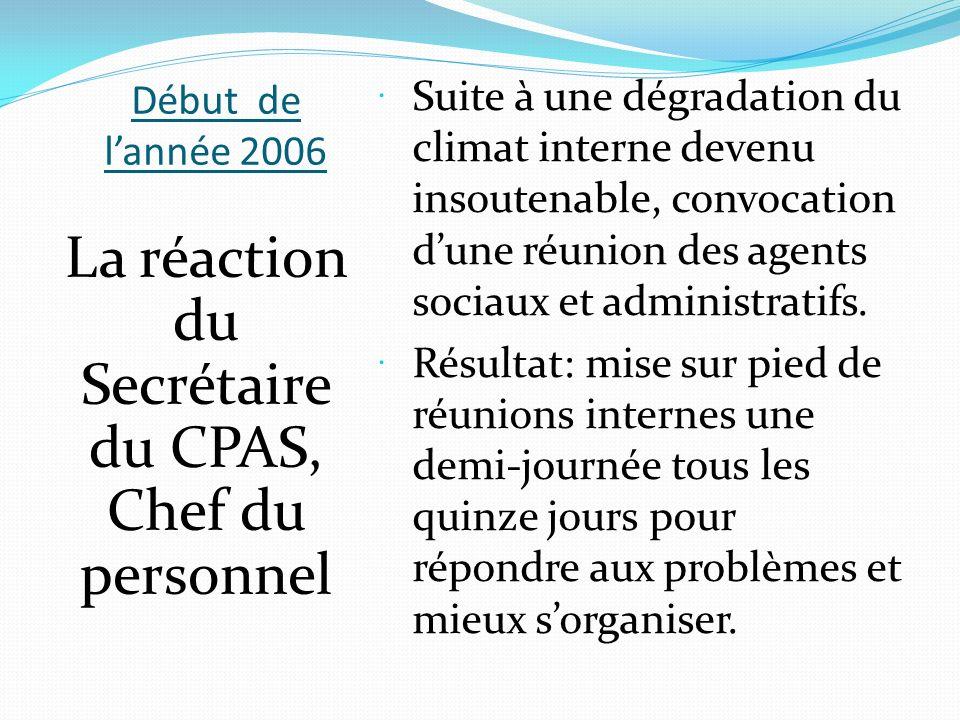 La réaction du Secrétaire du CPAS, Chef du personnel