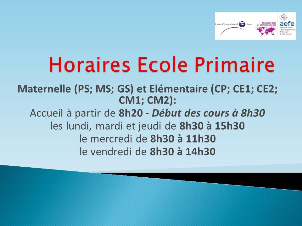 Horaires Ecole Primaire