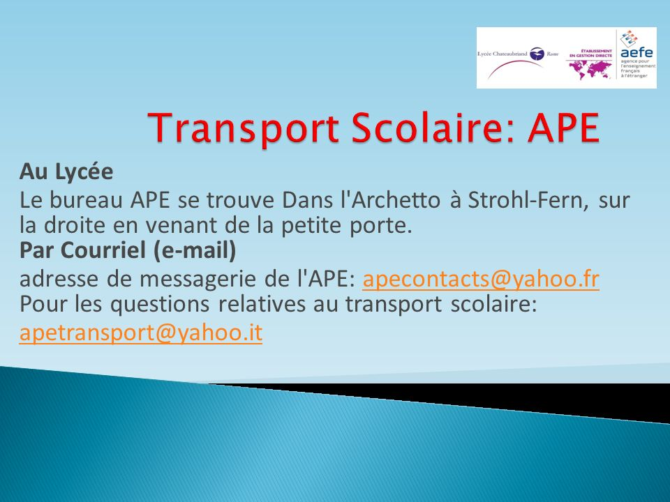Transport Scolaire: APE