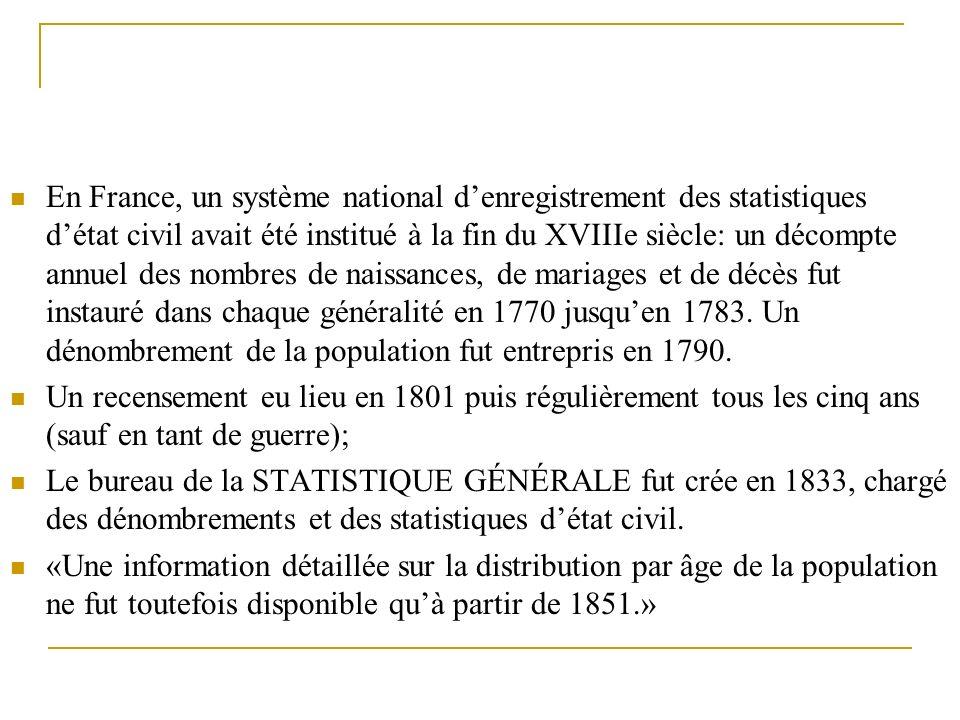 En France, un système national d'enregistrement des statistiques d'état civil avait été institué à la fin du XVIIIe siècle: un décompte annuel des nombres de naissances, de mariages et de décès fut instauré dans chaque généralité en 1770 jusqu'en 1783. Un dénombrement de la population fut entrepris en 1790.