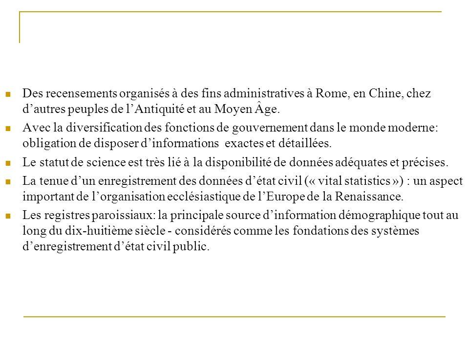Des recensements organisés à des fins administratives à Rome, en Chine, chez d'autres peuples de l'Antiquité et au Moyen Âge.
