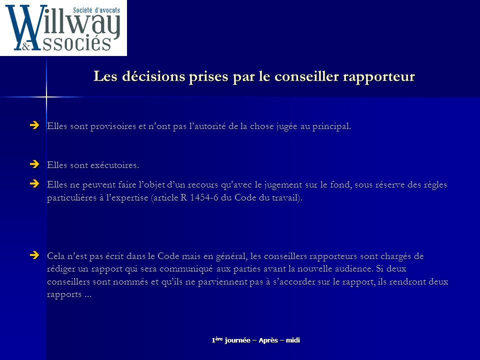 Les décisions prises par le conseiller rapporteur