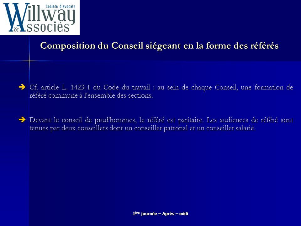 Composition du Conseil siégeant en la forme des référés