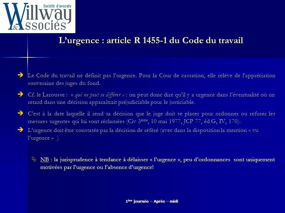 L'urgence : article R 1455-1 du Code du travail