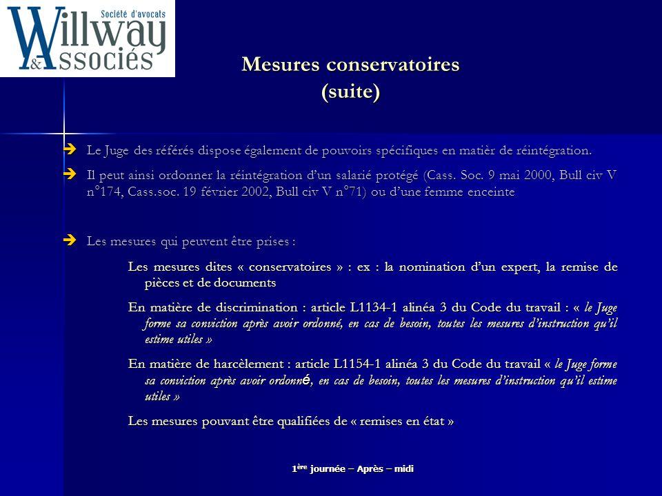 Mesures conservatoires (suite)