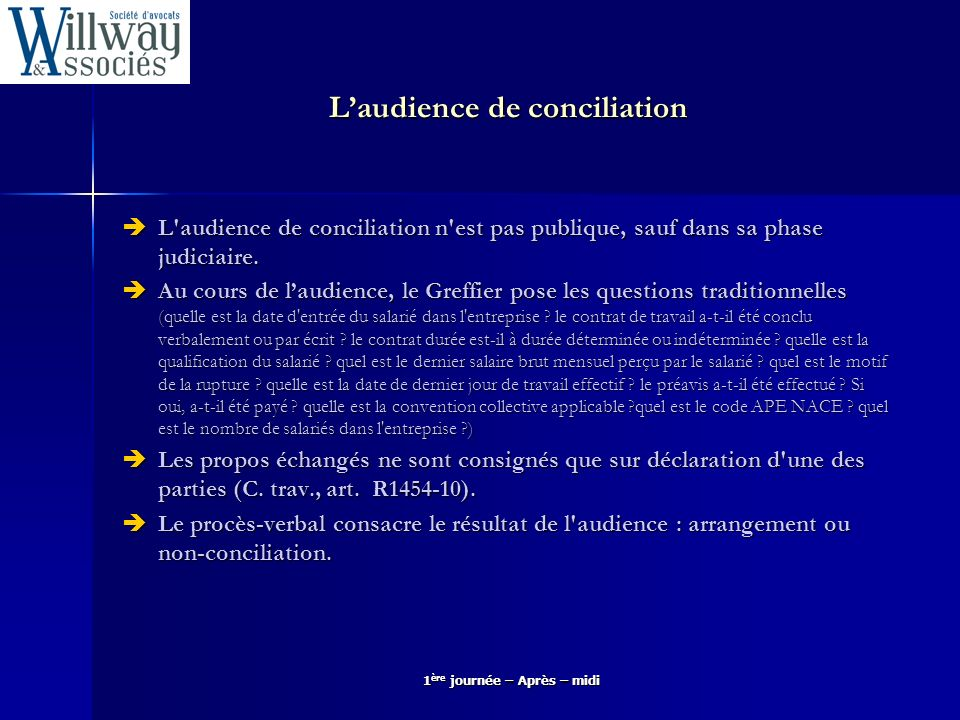 L'audience de conciliation