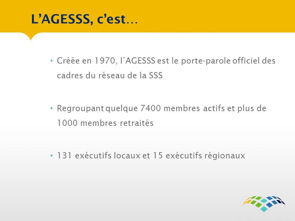 L'AGESSS, c'est… Créée en 1970, l'AGESSS est le porte-parole officiel des cadres du réseau de la SSS.