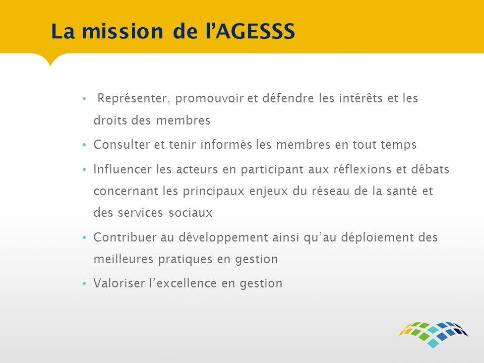 La mission de l'AGESSS Représenter, promouvoir et défendre les intérêts et les droits des membres.