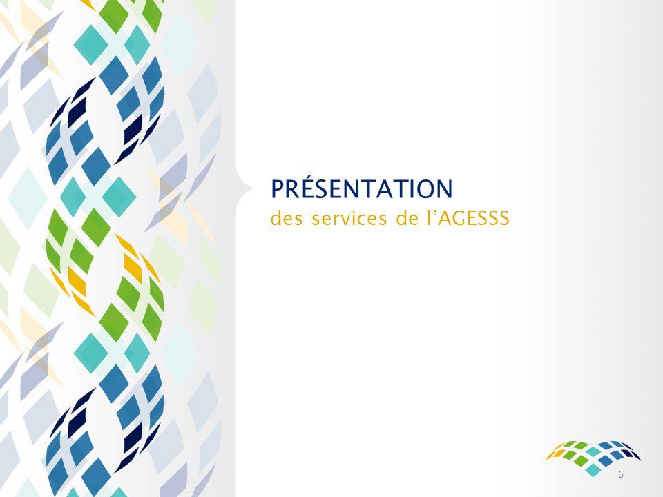 Présentation des services de l'AGESSS