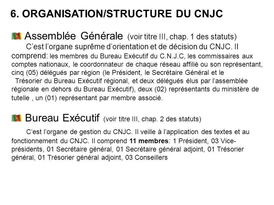 6. ORGANISATION/STRUCTURE DU CNJC