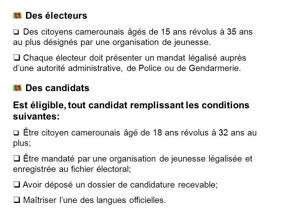 Est éligible, tout candidat remplissant les conditions suivantes: