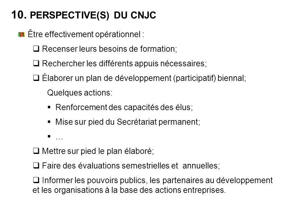 10. PERSPECTIVE(S) DU CNJC